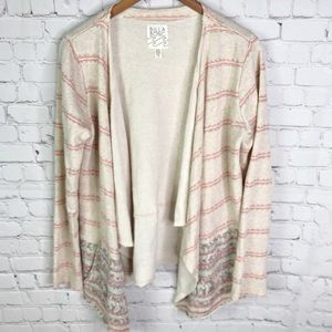 BILLABONG open front cream cotton cardigan size L